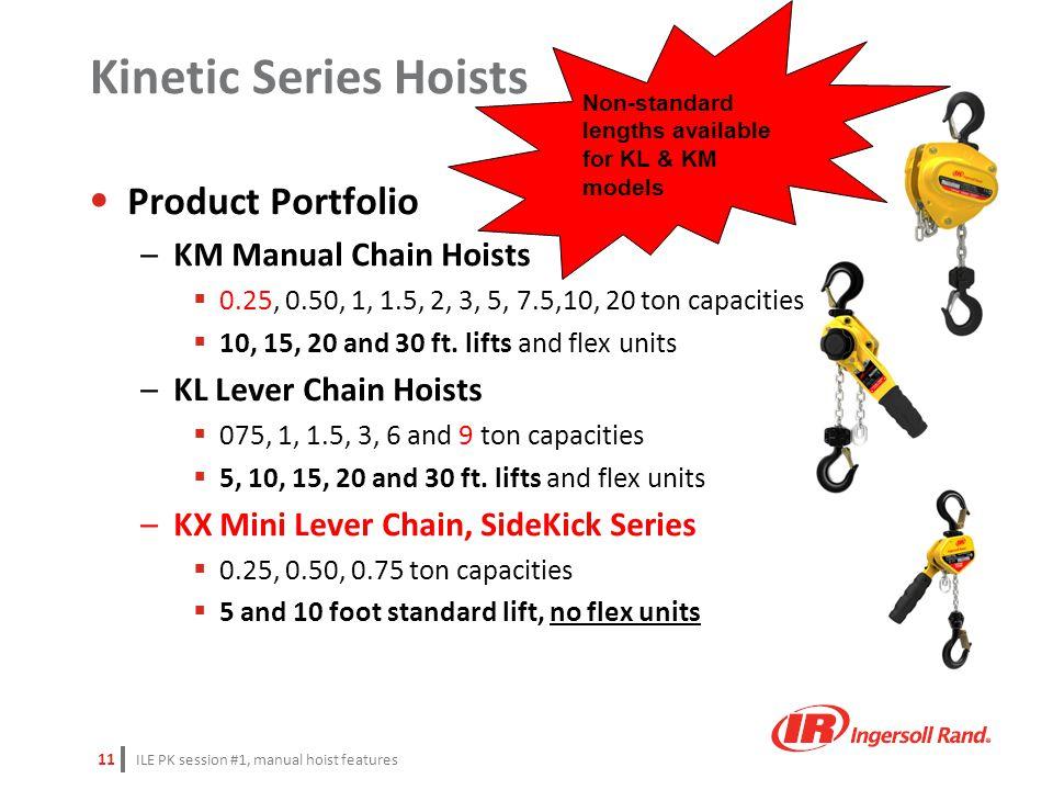 ILE PK session #1, manual hoist features 11 Product Portfolio –KM Manual Chain Hoists  0.25, 0.50, 1, 1.5, 2, 3, 5, 7.5,10, 20 ton capacities  10, 1