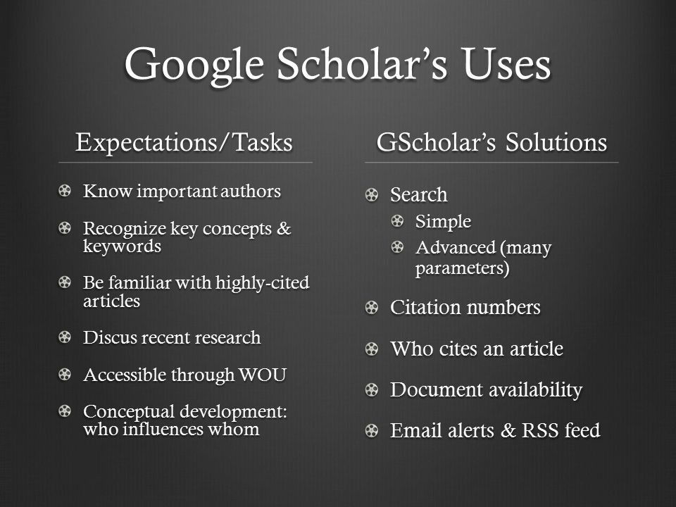 Google Scholar's Uses Expectations/Tasks Know important authors Recognize key concepts & keywords Be familiar with highly-cited articles Discus recent research Accessible through WOU Conceptual development: who influences whom GScholar's Solutions Search Simple Advanced (many parameters) Citation numbers Who cites an article Document availability Email alerts & RSS feed