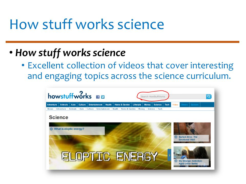 How stuff works science Excellent collection of videos that cover interesting and engaging topics across the science curriculum.