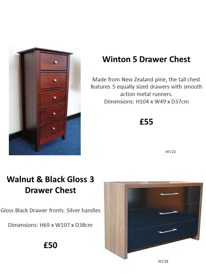 Winton 5 Drawer Chest Made from New Zealand pine, the tall chest features 5 equally sized drawers with smooth action metal runners.