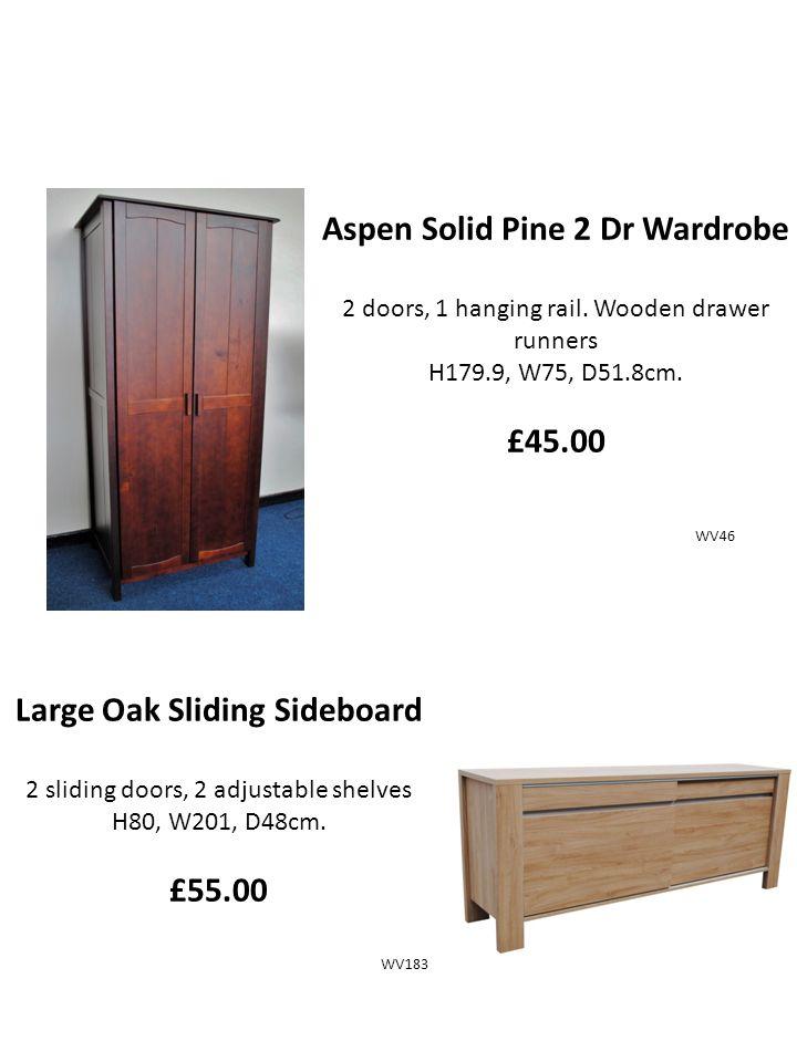 Aspen Solid Pine 2 Dr Wardrobe 2 doors, 1 hanging rail.