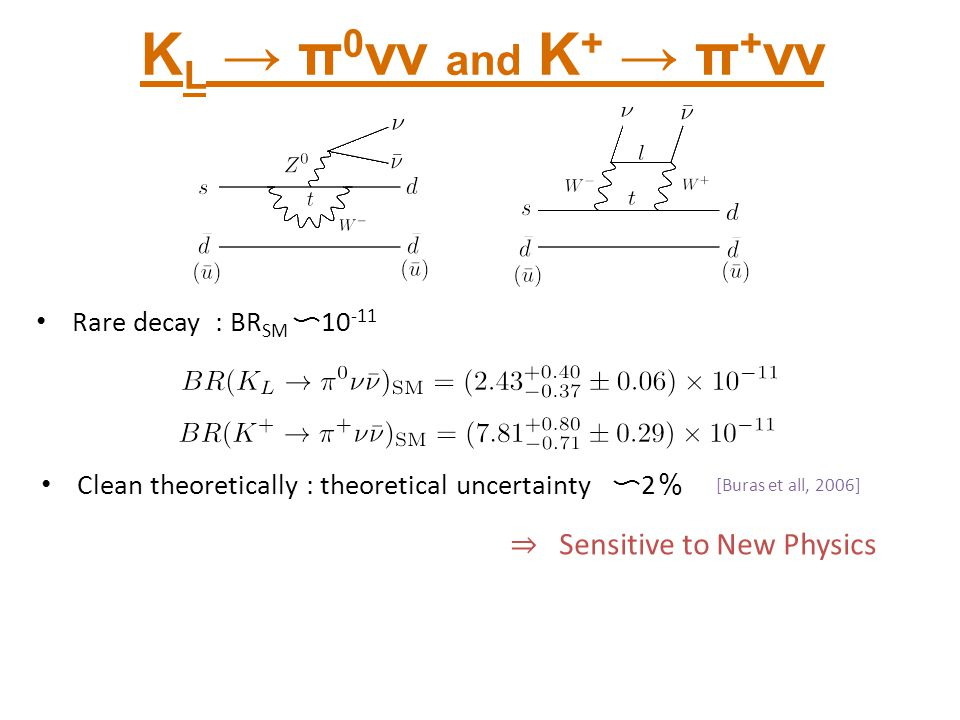 Clean theoretically : theoretical uncertainty 〜 2 % K L → π 0 νν and K + → π + νν Rare decay : BR SM 〜 10 -11 [Buras et all, 2006] ⇒ Sensitive to New