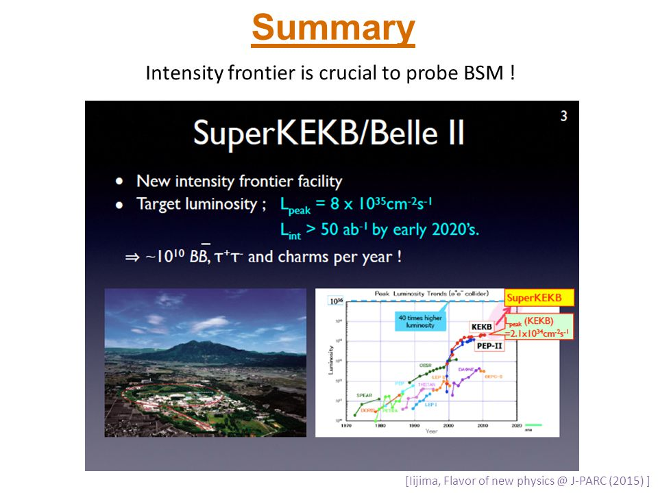 Summary Intensity frontier is crucial to probe BSM ! [Iijima, Flavor of new physics @ J-PARC (2015) ]
