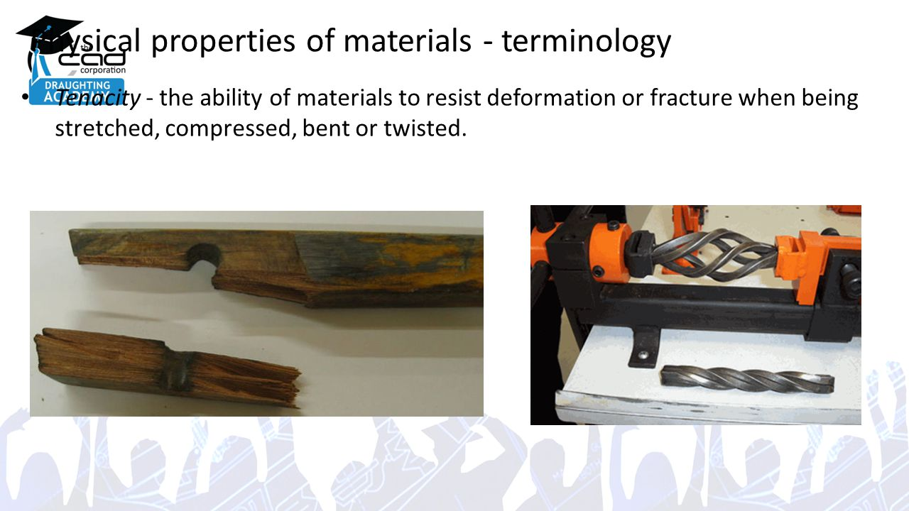 Physical properties of materials - terminology Tenacity - the ability of materials to resist deformation or fracture when being stretched, compressed, bent or twisted.