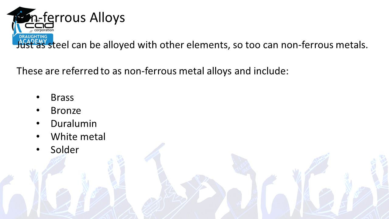 Non-ferrous Alloys Just as steel can be alloyed with other elements, so too can non-ferrous metals.