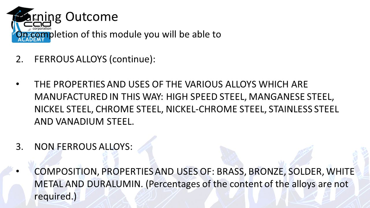 Learning Outcome On completion of this module you will be able to 2.FERROUS ALLOYS (continue): THE PROPERTIES AND USES OF THE VARIOUS ALLOYS WHICH ARE MANUFACTURED IN THIS WAY: HIGH SPEED STEEL, MANGANESE STEEL, NICKEL STEEL, CHROME STEEL, NICKEL-CHROME STEEL, STAINLESS STEEL AND VANADIUM STEEL.