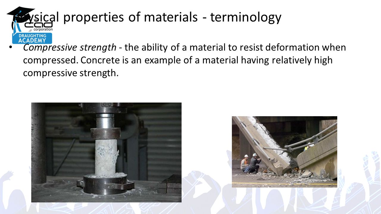 Physical properties of materials - terminology Compressive strength - the ability of a material to resist deformation when compressed.