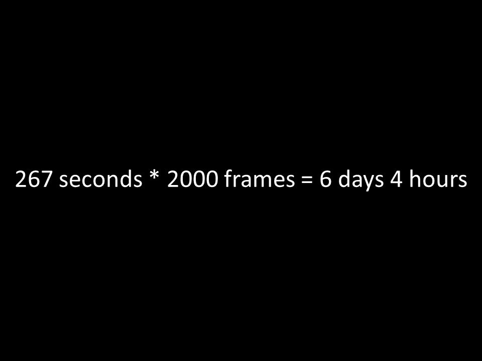 267 seconds * 2000 frames = 6 days 4 hours