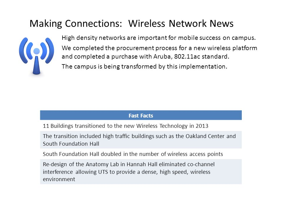 Making Connections: Wireless Network News High density networks are important for mobile success on campus.