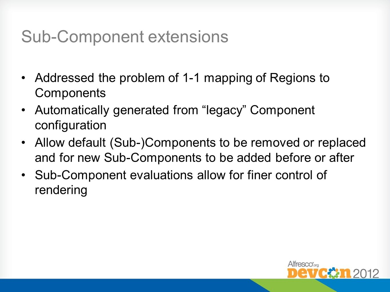 "Sub-Component extensions Addressed the problem of 1-1 mapping of Regions to Components Automatically generated from ""legacy"" Component configuration A"