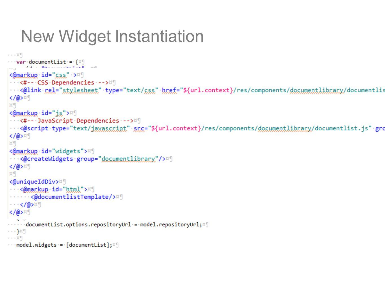 New Widget Instantiation