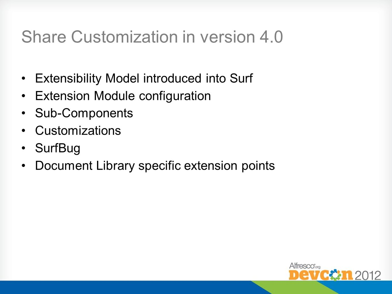 Share Customization in version 4.0 Extensibility Model introduced into Surf Extension Module configuration Sub-Components Customizations SurfBug Docum
