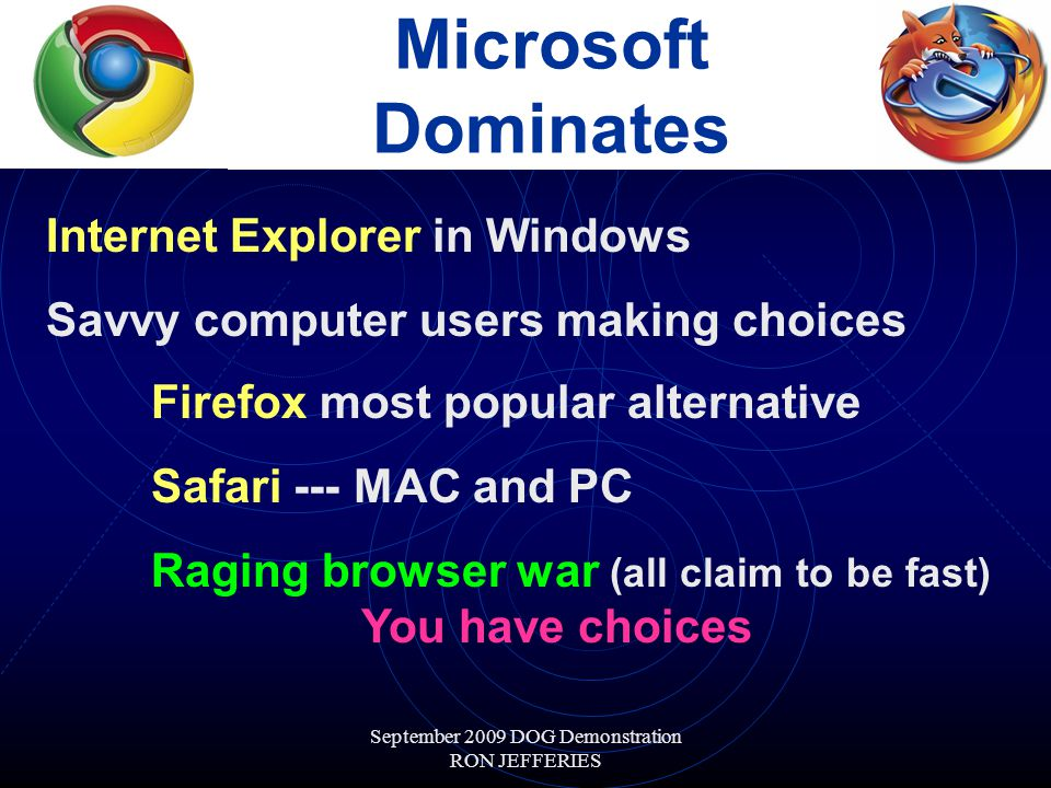 September 2009 DOG Demonstration RON JEFFERIES Microsoft Dominates Internet Explorer in Windows Savvy computer users making choices Firefox most popular alternative Safari --- MAC and PC Raging browser war (all claim to be fast) You have choices