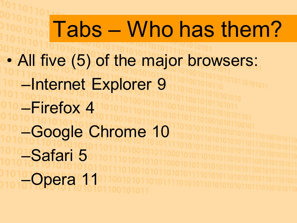 Tabs – Who has them.