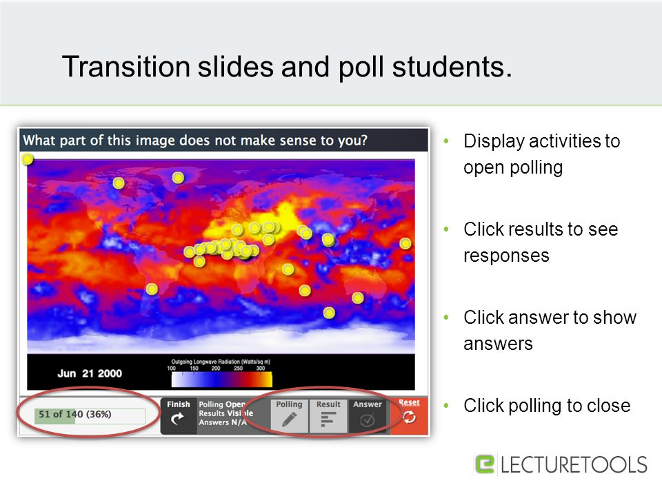 Display activities to open polling Click results to see responses Click answer to show answers Click polling to close Transition slides and poll students.