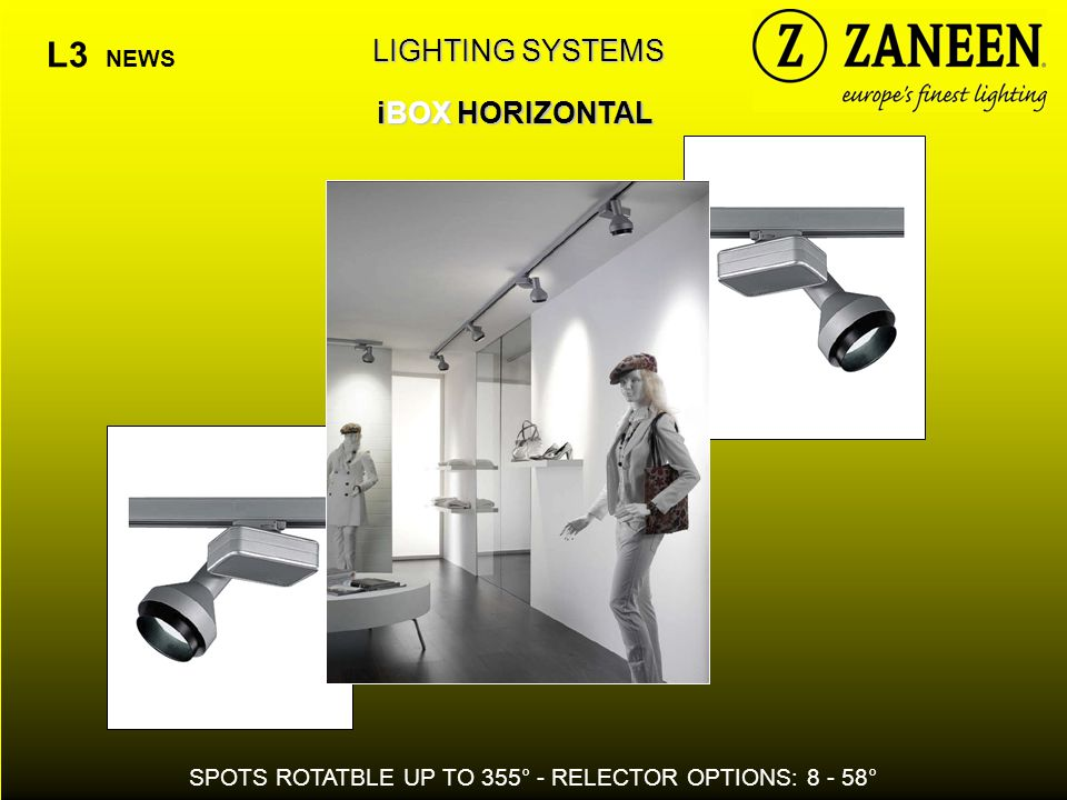 LIGHTING SYSTEMS iBOX HORIZONTAL L3 NEWS SPOTS ROTATBLE UP TO 355° - RELECTOR OPTIONS: 8 - 58°