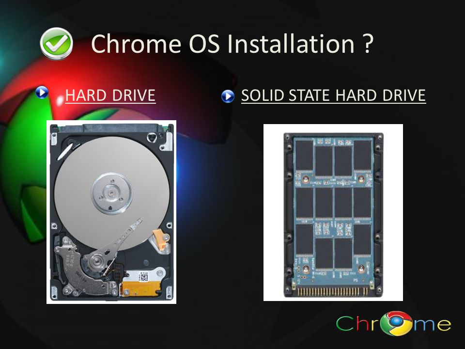 Chrome OS Installation HARD DRIVESOLID STATE HARD DRIVE