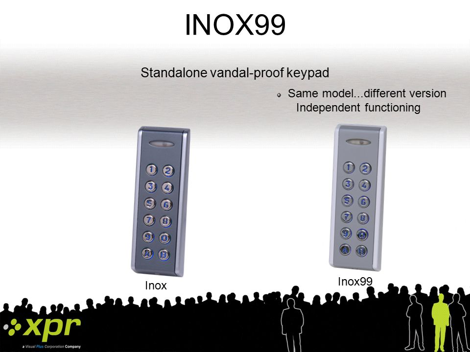 WEIGAND communication CODIX communication INOX FEATURES Multi protocol peripheral unit (WEIGAND 26-bit/30-bit, DATA/CLOCK, CODIX) Powered from the Master unit itself Power supply command Host (controller) INOX Entering code 1 to 8 digits