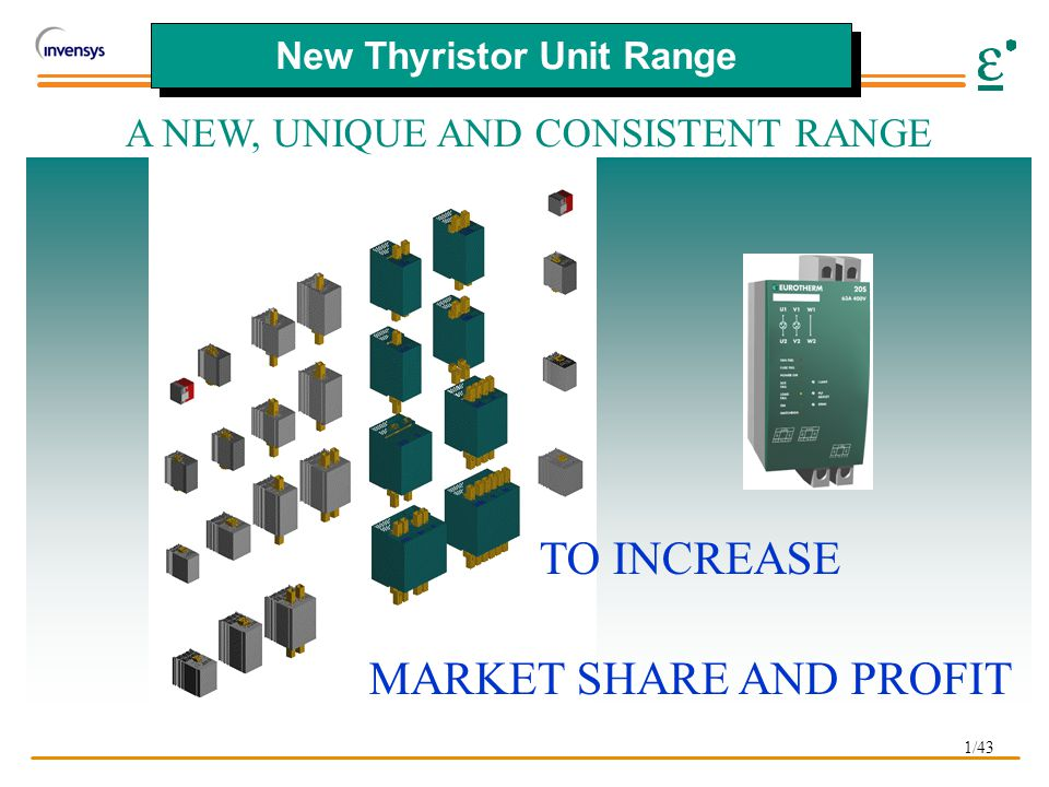 1/43 New Thyristor Unit Range TO INCREASE MARKET SHARE AND PROFIT A NEW, UNIQUE AND CONSISTENT RANGE