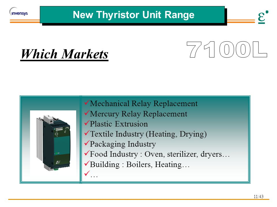 11/43 New Thyristor Unit Range Mechanical Relay Replacement Mercury Relay Replacement Plastic Extrusion Textile Industry (Heating, Drying) Packaging Industry Food Industry : Oven, sterilizer, dryers… Building : Boilers, Heating… … Which Markets