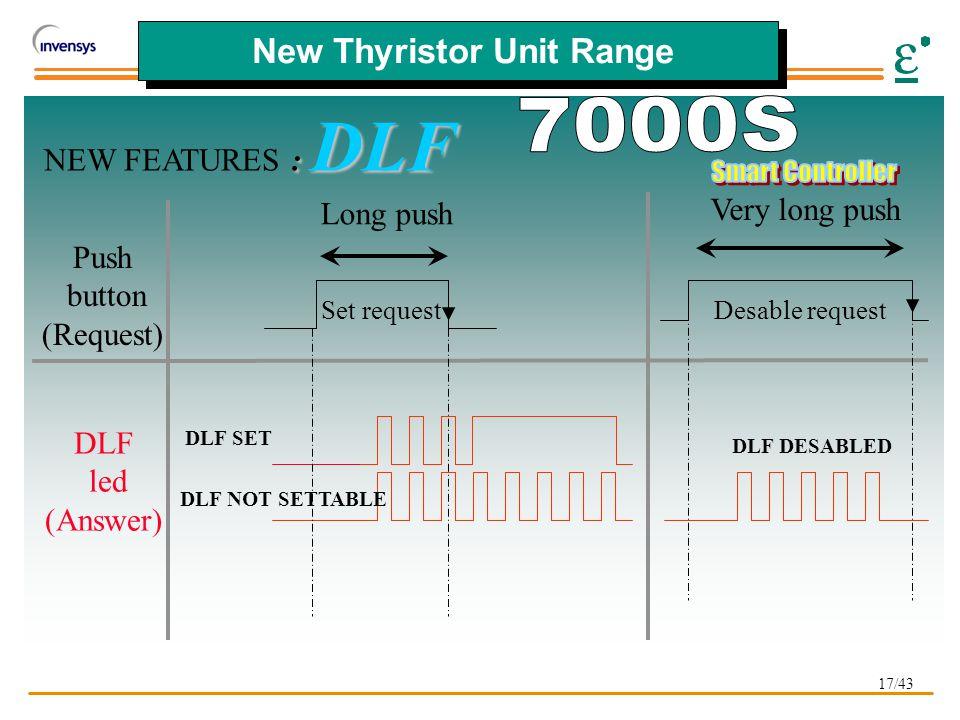 17/43 New Thyristor Unit Range : DLF NEW FEATURES : DLF Set request DLF SET DLF NOT SETTABLE Push button (Request) DLF led (Answer) Desable request DLF DESABLED Long push Very long push