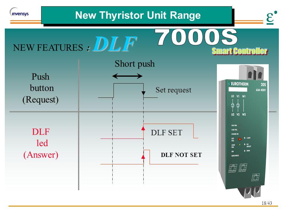 18/43 New Thyristor Unit Range : DLF NEW FEATURES : DLF Set request DLF SET DLF NOT SET Push button (Request) DLF led (Answer) Short push