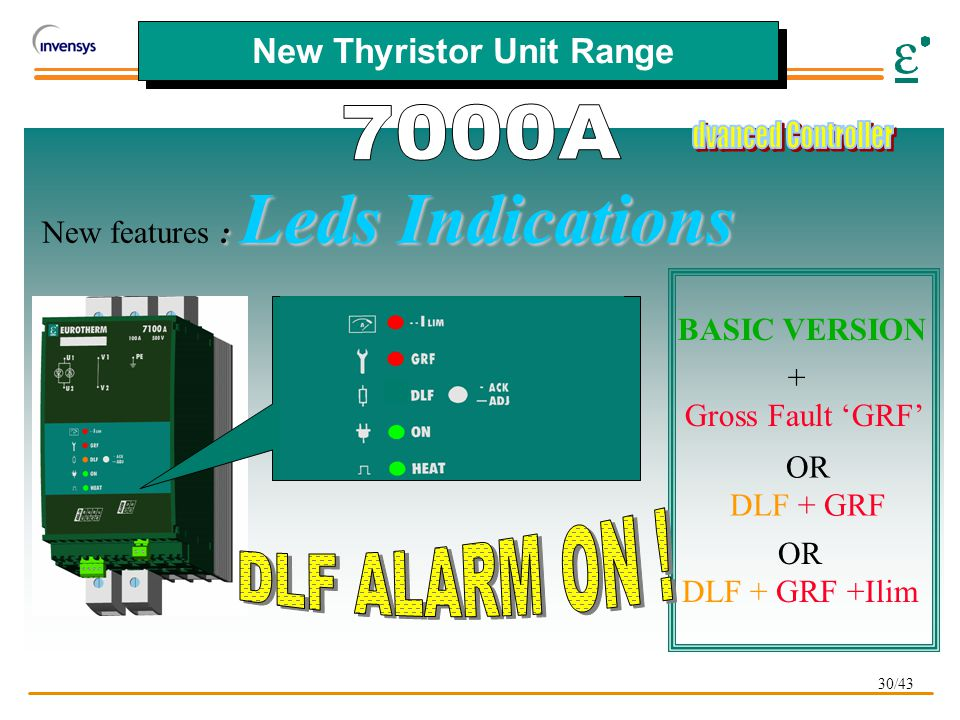 30/43 New Thyristor Unit Range BASIC VERSION + Gross Fault 'GRF' OR DLF + GRF OR DLF + GRF +Ilim : Leds Indications New features : Leds Indications