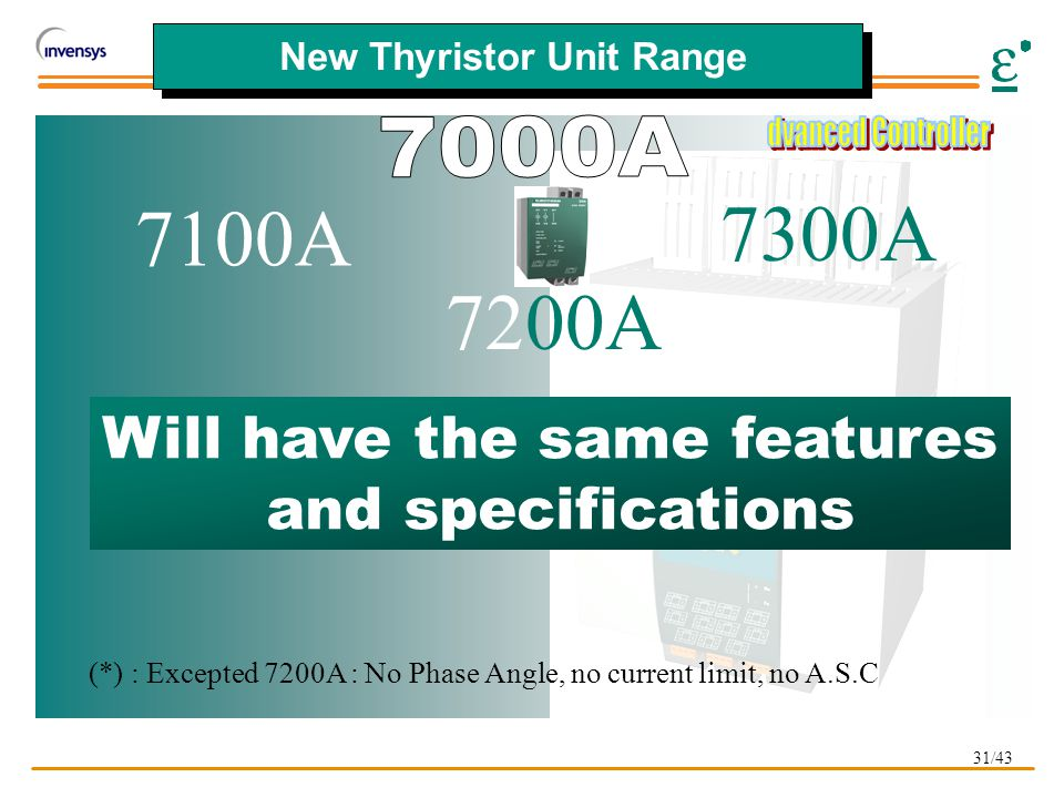 31/43 New Thyristor Unit Range 7200A 7300A: Will have the same features and specifications (*) : Excepted 7200A : No Phase Angle, no current limit, no A.S.C 7100A