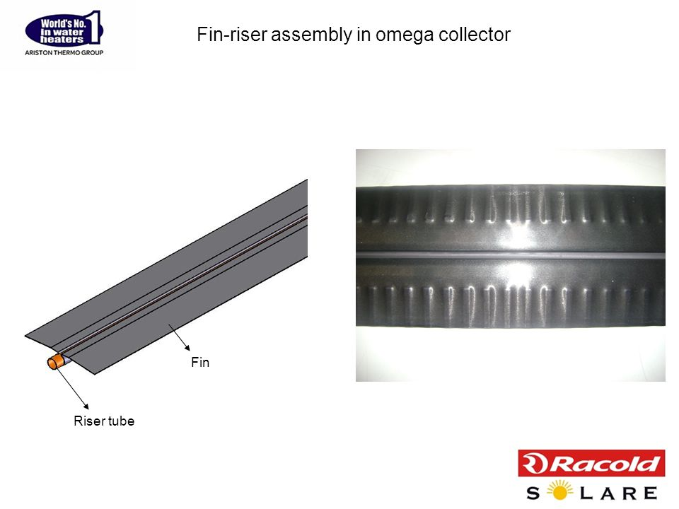 Fin-riser assembly in omega collector Riser tube Fin