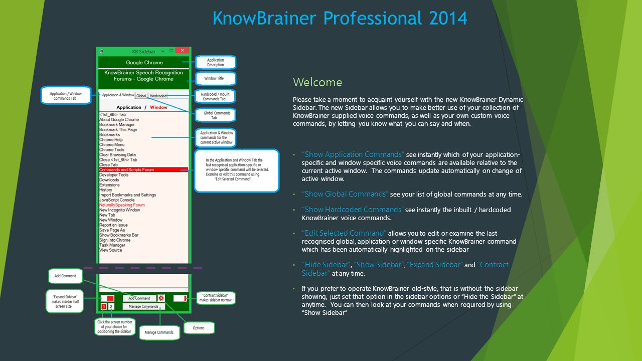 KnowBrainer Professional 2014 Welcome Please take a moment to acquaint yourself with the new KnowBrainer Dynamic Sidebar.