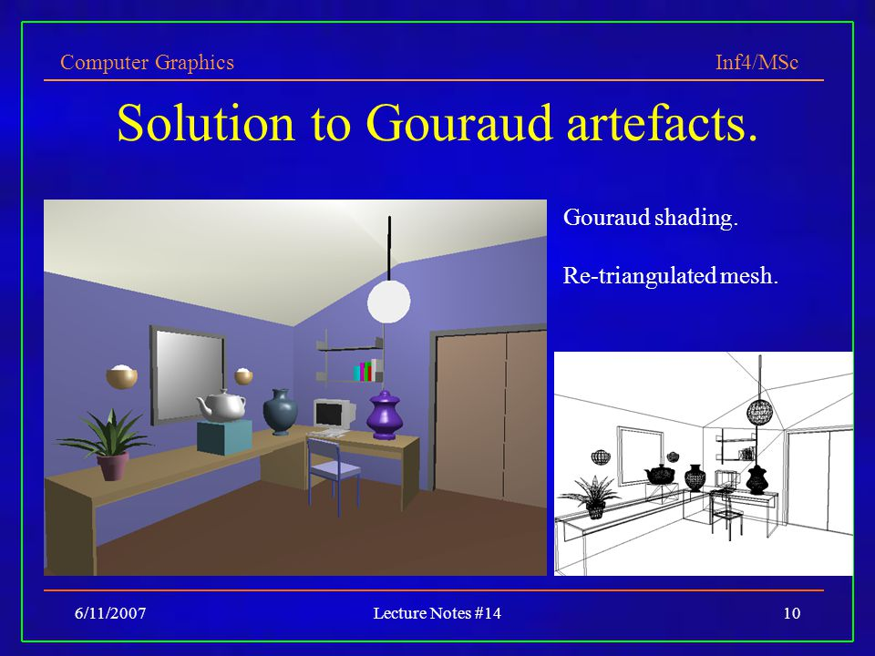Computer Graphics Inf4/MSc 6/11/2007Lecture Notes #1410 Solution to Gouraud artefacts.