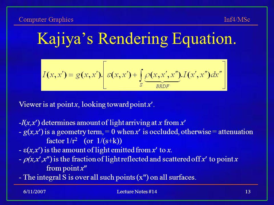 Computer Graphics Inf4/MSc 6/11/2007Lecture Notes #1413 Kajiya's Rendering Equation.
