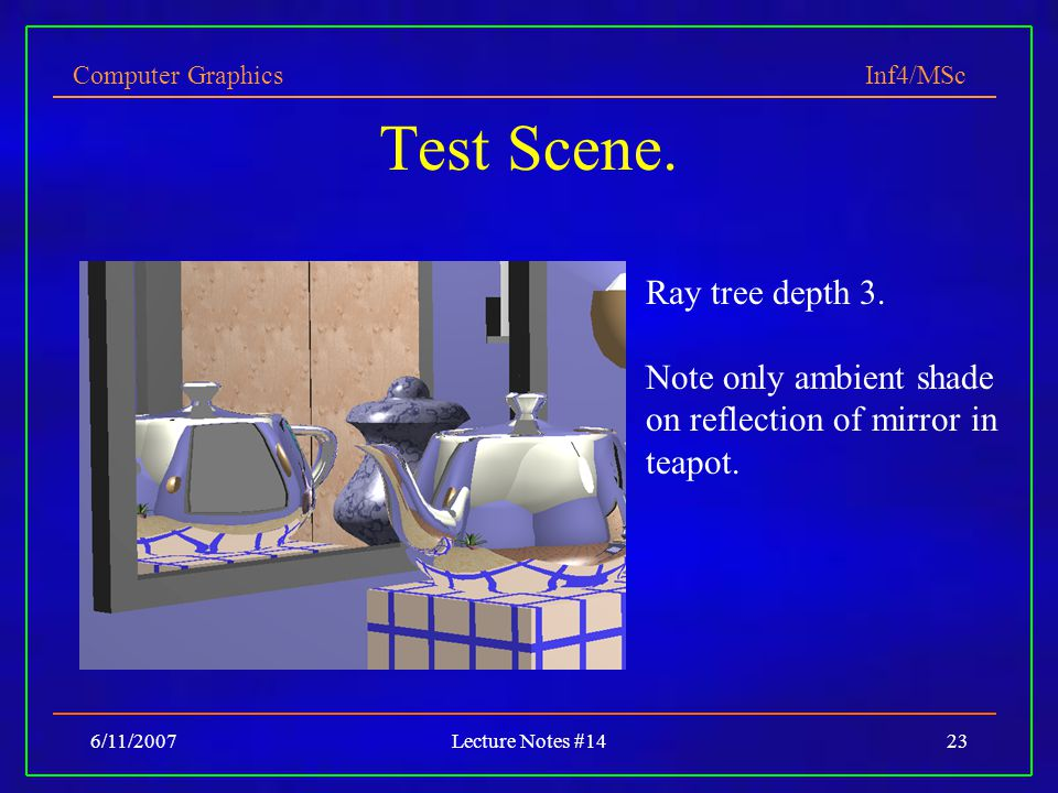 Computer Graphics Inf4/MSc 6/11/2007Lecture Notes #1423 Test Scene. Ray tree depth 3. Note only ambient shade on reflection of mirror in teapot.