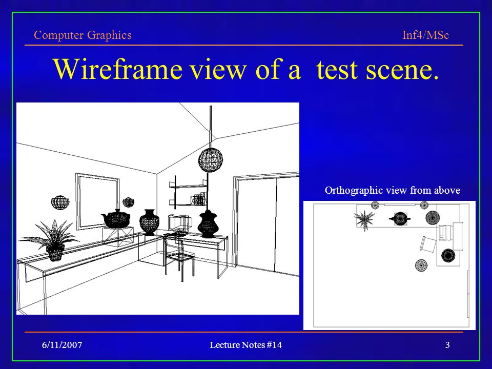 Computer Graphics Inf4/MSc 6/11/2007Lecture Notes #143 Wireframe view of a test scene. Orthographic view from above