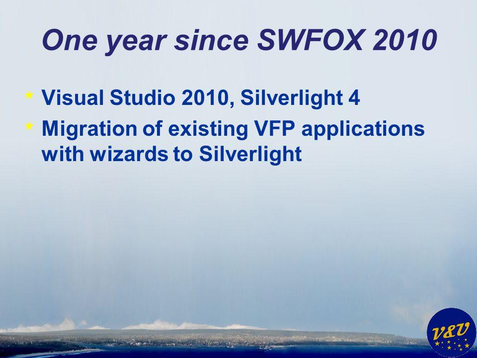 One year since SWFOX 2010 * dFPUG – Silverlight Wizard * VFX – Silverlight Wizard * Silverswitch