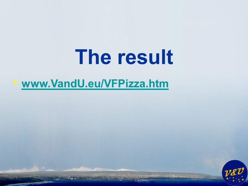 The result * www.VandU.eu/VFPizza.htm www.VandU.eu/VFPizza.htm