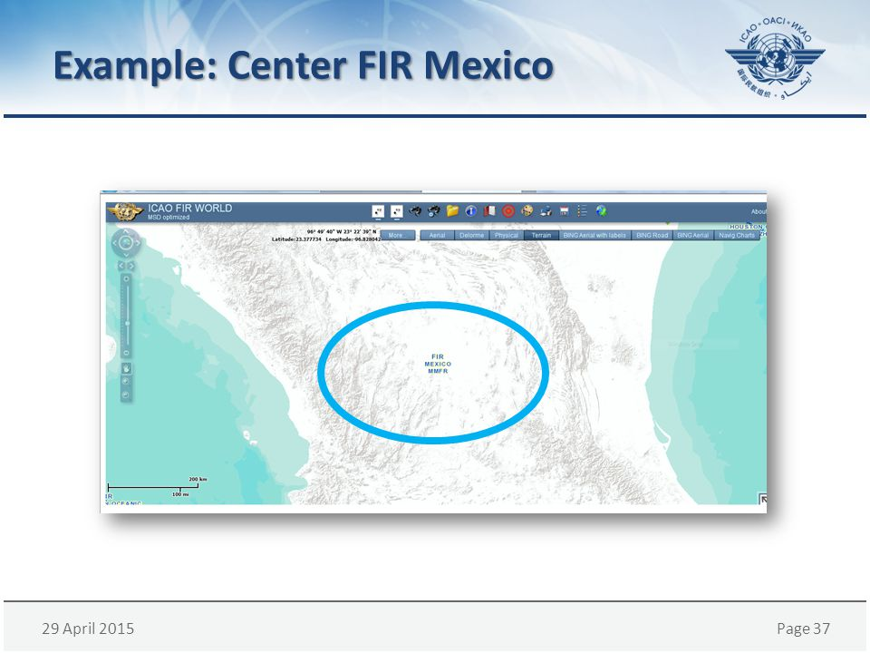 29 April 2015Page 37 Example: Center FIR Mexico