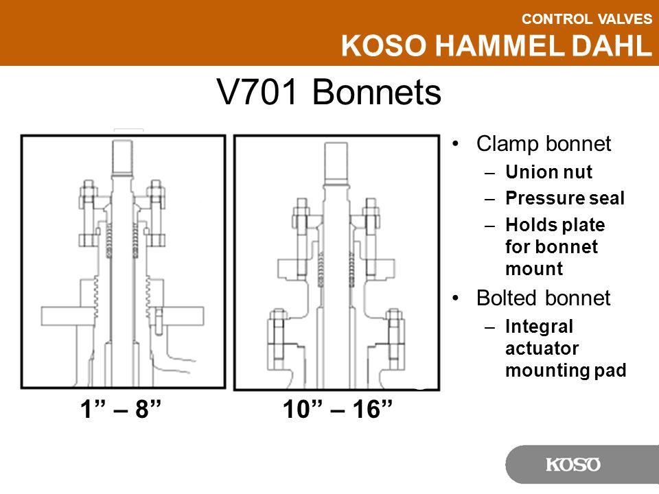 CONTROL VALVES KOSO HAMMEL DAHL V701 Bonnets Clamp bonnet –Union nut –Pressure seal –Holds plate for bonnet mount Bolted bonnet –Integral actuator mou