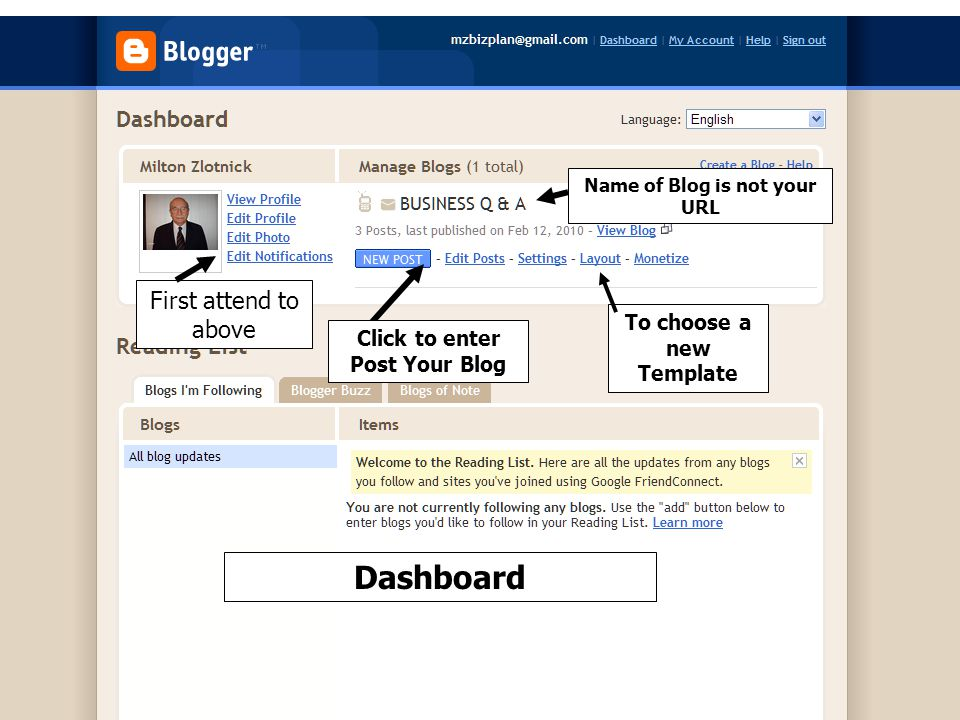Dashboard To choose a new Template Click to enter Post Your Blog First attend to above Name of Blog is not your URL
