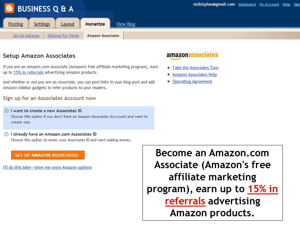 Become an Amazon.com Associate (Amazon s free affiliate marketing program), earn up to 15% in referrals advertising Amazon products.15% in referrals