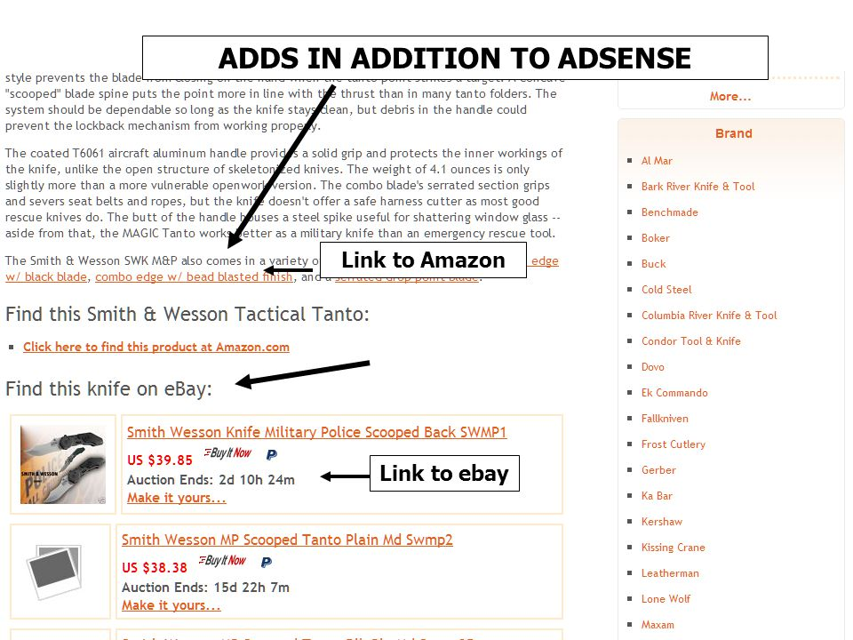 Link to Amazon Link to ebay ADDS IN ADDITION TO ADSENSE