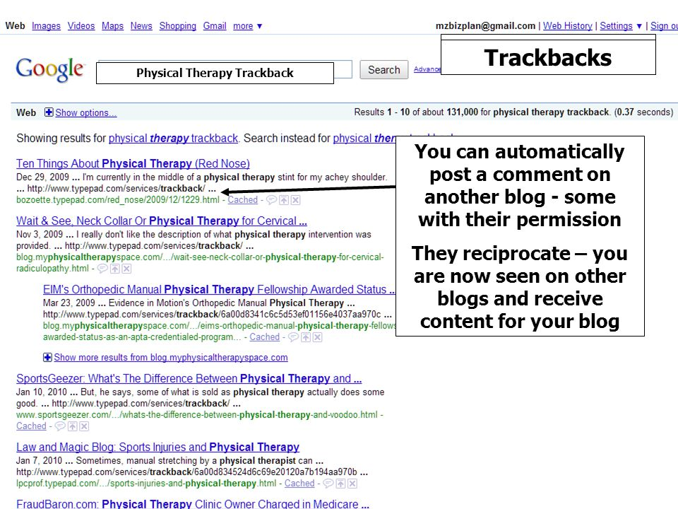Trackbacks You can automatically post a comment on another blog - some with their permission They reciprocate – you are now seen on other blogs and receive content for your blog Physical Therapy Trackback