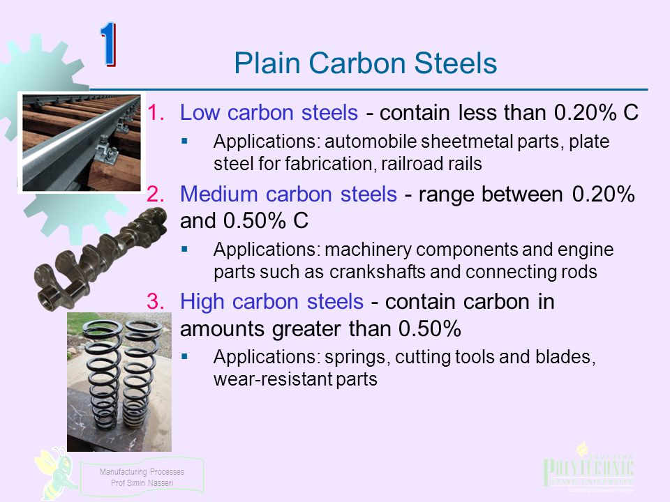Manufacturing Processes Prof Simin Nasseri Plain Carbon Steels 1.Low carbon steels - contain less than 0.20% C  Applications: automobile sheetmetal p