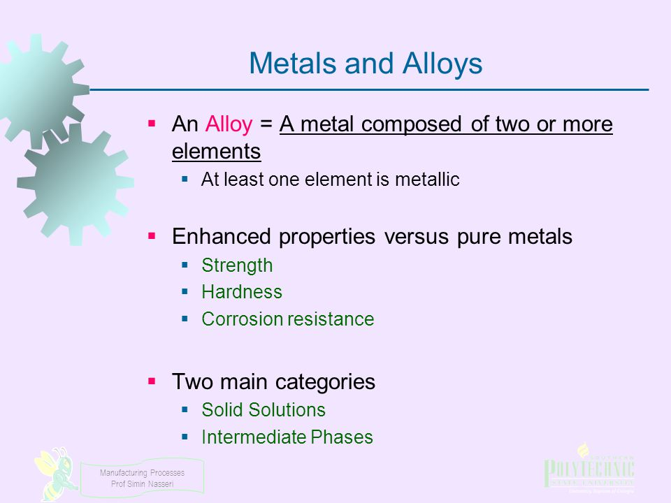 Manufacturing Processes Prof Simin Nasseri Alloys Solid Solutions Intermediate Phases SubstitutionalInterstitial Metallic Compounds Inter-metallic Compound