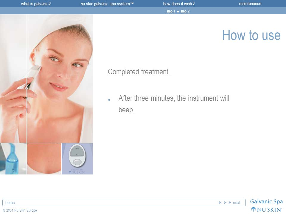 what is galvanic maintenancenu skin galvanic spa system™how does it work.