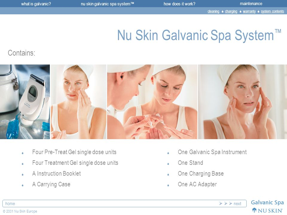 what is galvanic?maintenancenu skin galvanic spa system™how does it work.