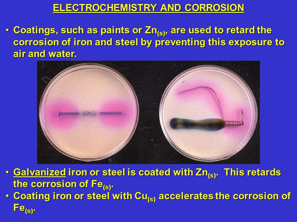 Coatings, such as paints or Zn (s), are used to retard the corrosion of iron and steel by preventing this exposure to air and water.Coatings, such as