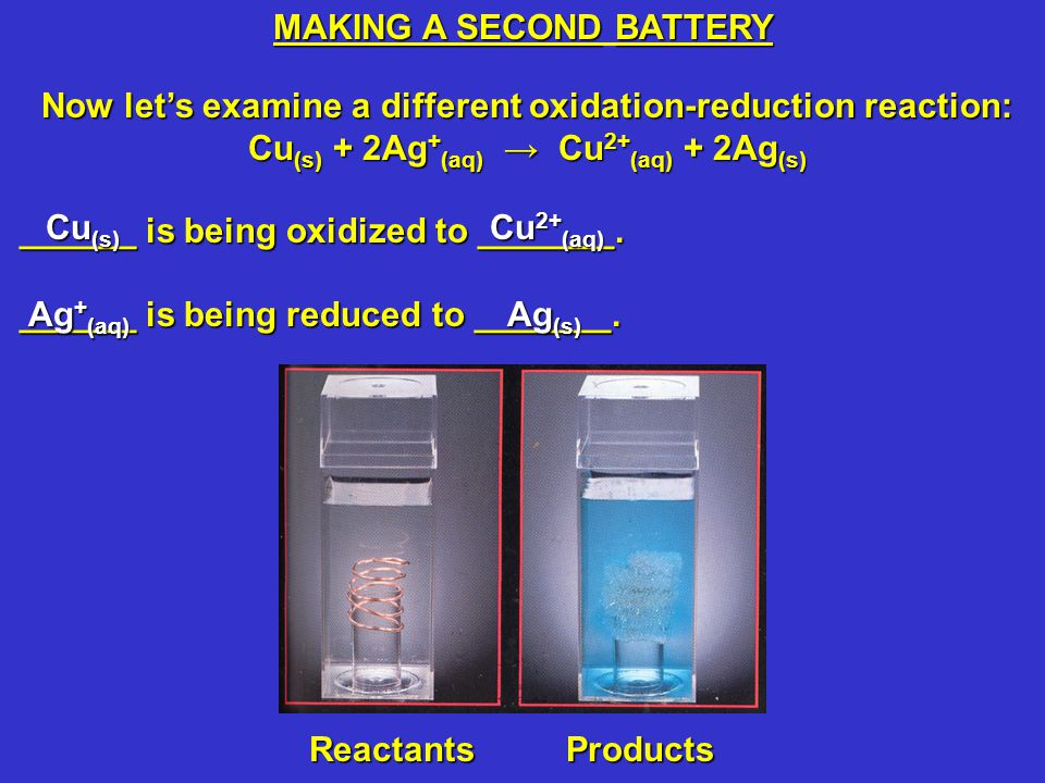 Cu (s) + 2Ag + (aq) → Cu 2+ (aq) + 2Ag (s) Notice that replacing Zn (s) and 1.00 M Zn(NO 3 ) 2(aq) with Ag (s) and 1.00 M AgNO 3(aq) decreases the voltage from 1.097 V to 0.463 V.Notice that replacing Zn (s) and 1.00 M Zn(NO 3 ) 2(aq) with Ag (s) and 1.00 M AgNO 3(aq) decreases the voltage from 1.097 V to 0.463 V.