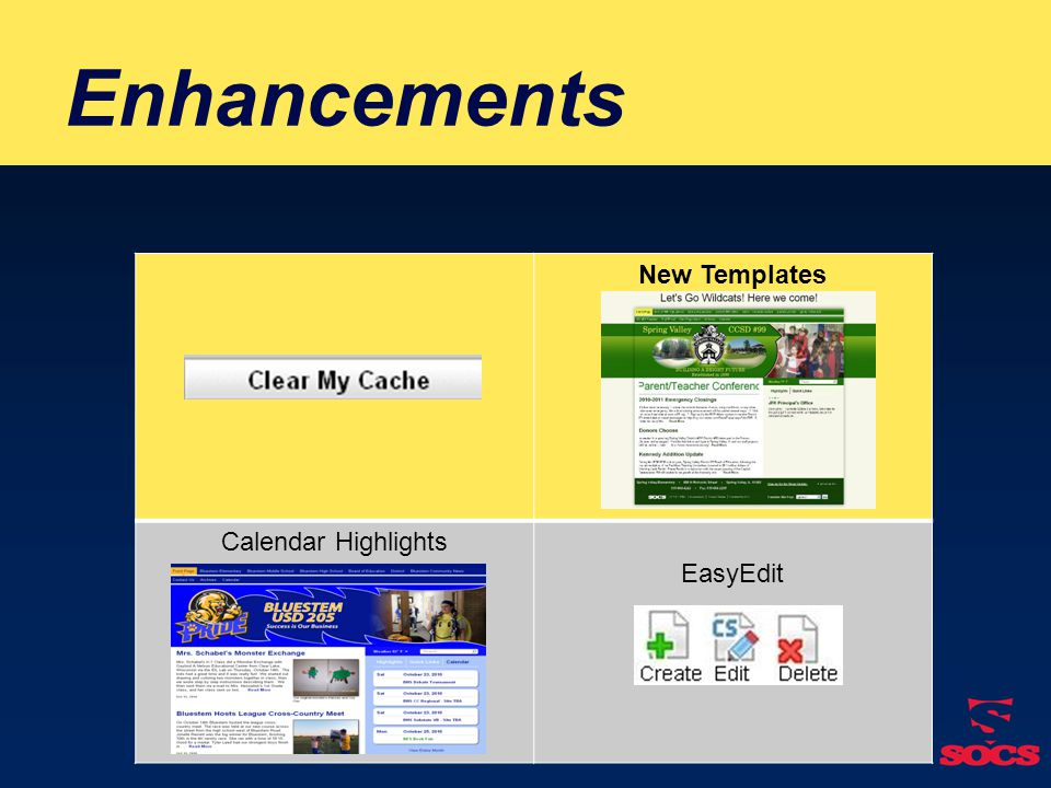 Enhancements New Templates Calendar Highlights EasyEdit ☺