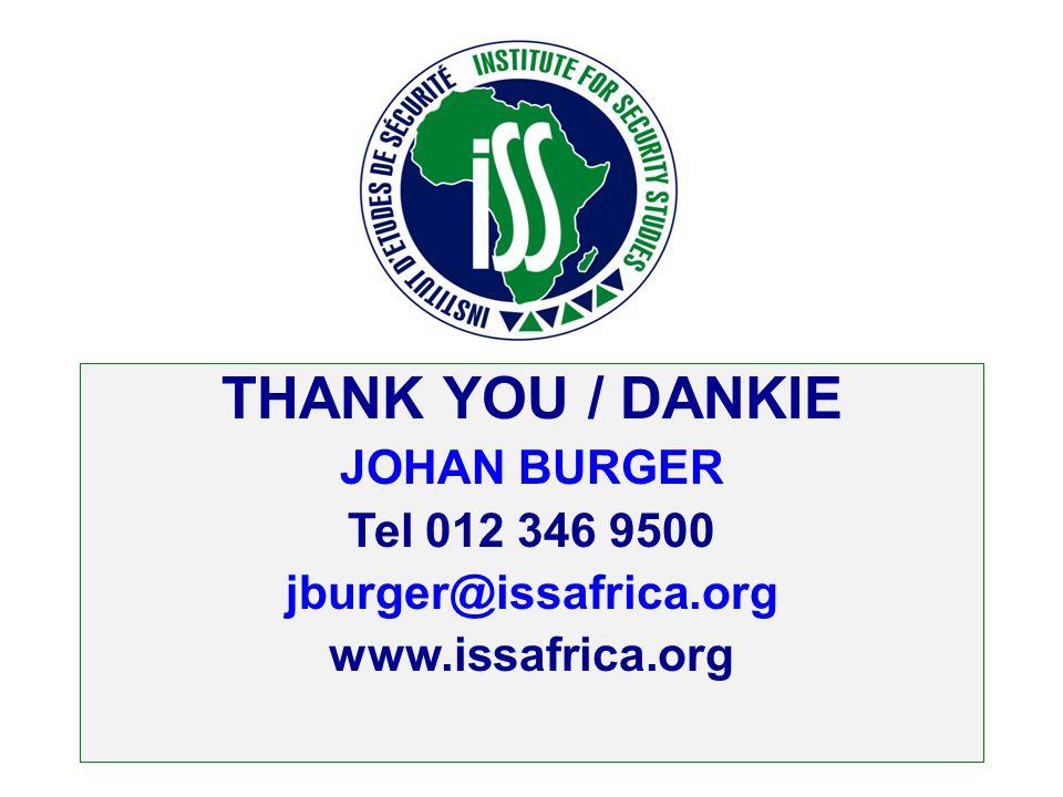 THANK YOU / DANKIE JOHAN BURGER Tel 012 346 9500 jburger@issafrica.org www.issafrica.org